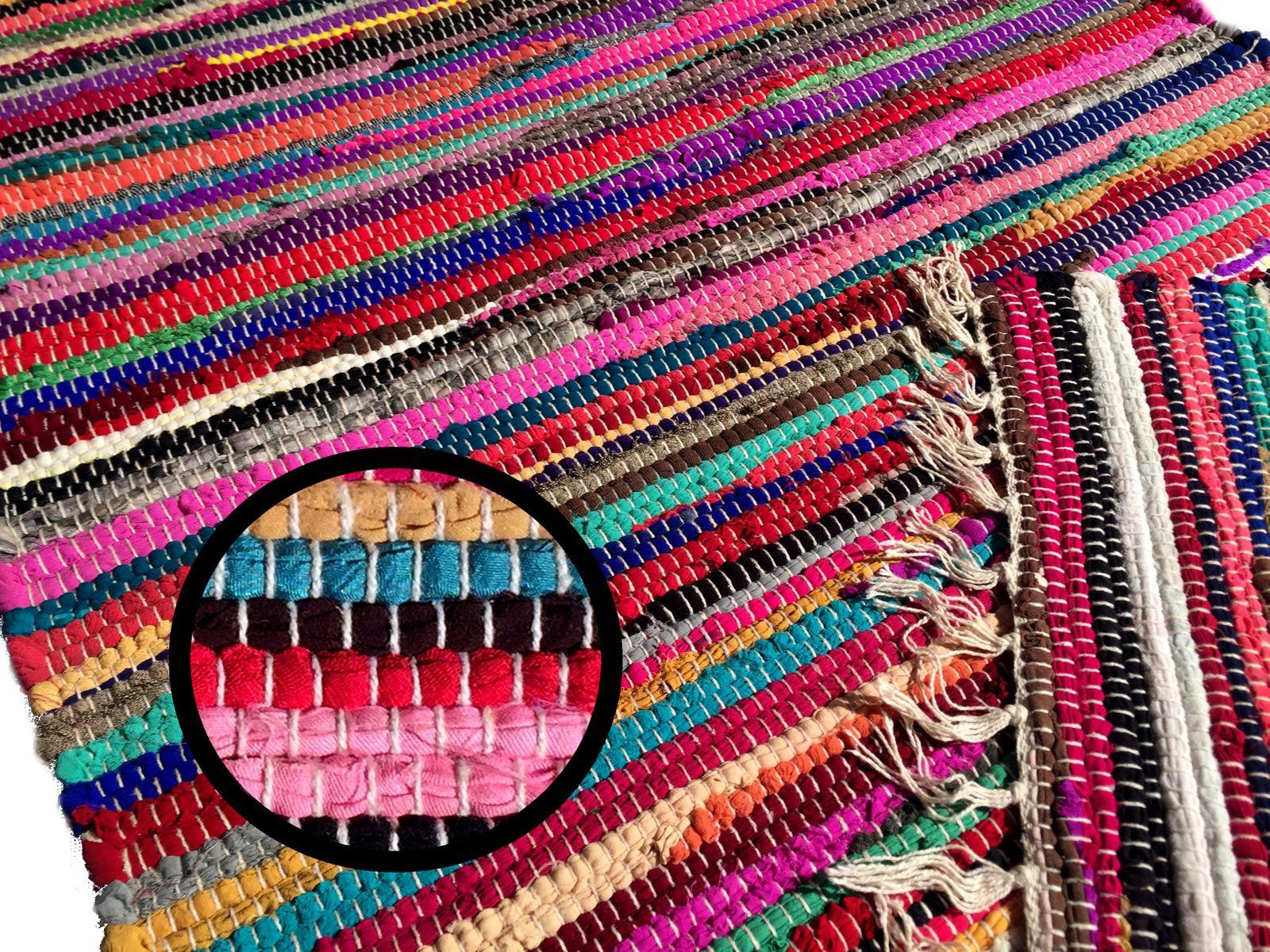 Bunter Teppich Handgewebt aus Indien Restbaumwolle Kelim in diverse Größen