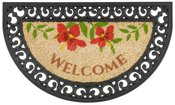 Coco Relief 075 x 045 cm Halbrunde Matte Welcome Blumen