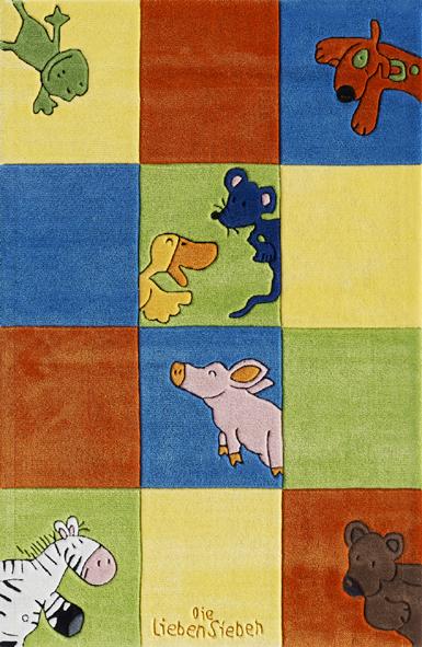 Kinderteppich- Die Lieben Sieben mit Karo Muster, Kinderzimmer