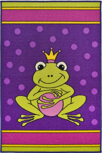 Kinderteppich- Nici Frosch Teppich 080 x 120 cm in Lila Pink