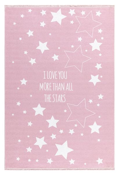 "Kinderteppich- Rosa Teppich mit Weißen Sternen ""I Love You More Than All The Stars"""