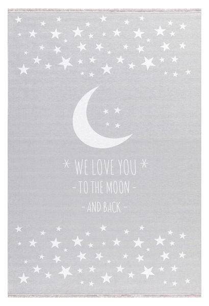 "Kinderteppich- Silbergrau Teppich mit Mond und Sterne ""We Love You -To The Moon and Back-"""