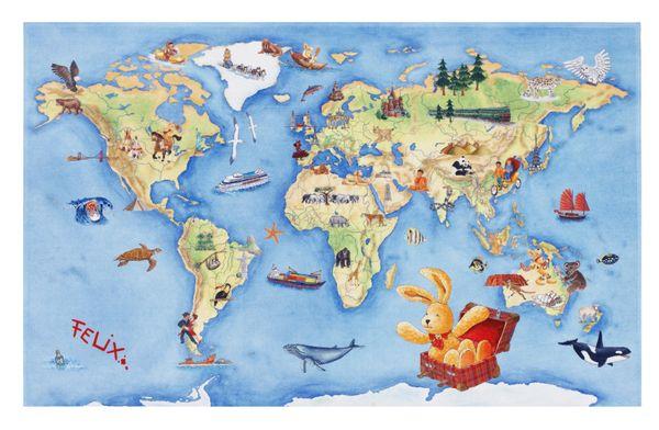 Kinderteppich-  FELiX Spiel und Lern Teppich, Die Weltkarte, in Zwei Größen, Teppich