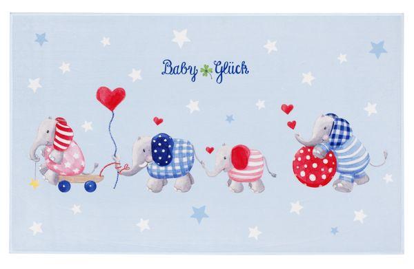 Kinderteppich- Baby Glück in Zwei Größen, Elefanten bim Spielen Kinderzimmer, Baby