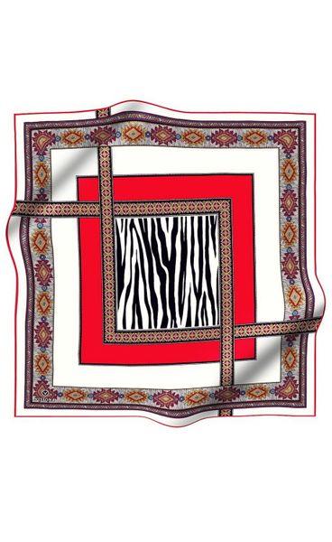 Elegantes Damen Seidentuch ca. 85 x 85 cm, Borderorot/ Schwarz, Schal, Kopftuch Halstuch Frauen Seidenschal Business