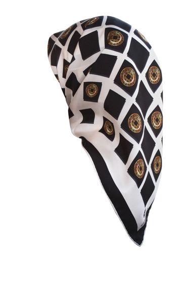 Elegantes Damen Seidentuch ca. 85 x 85 cm, Schwarz/ Gold, Schal, Kopftuch Halstuch Frauen Seidenschal Business